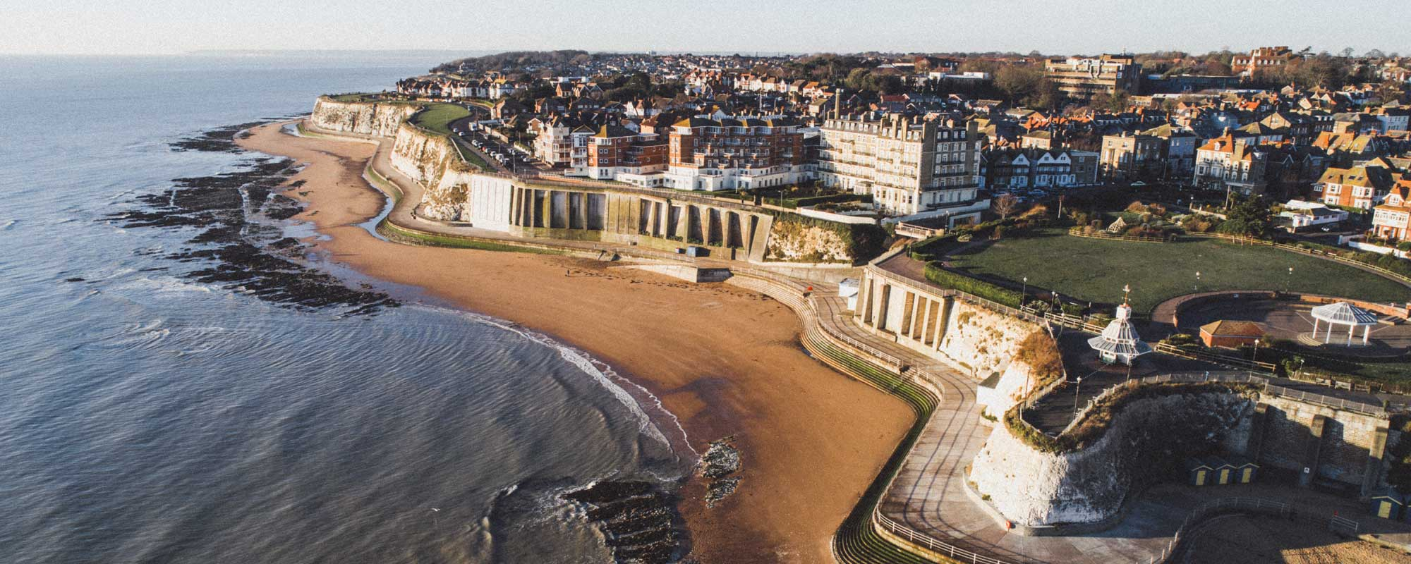 Drone image of Louisa Bay, Broadstairs, Kent